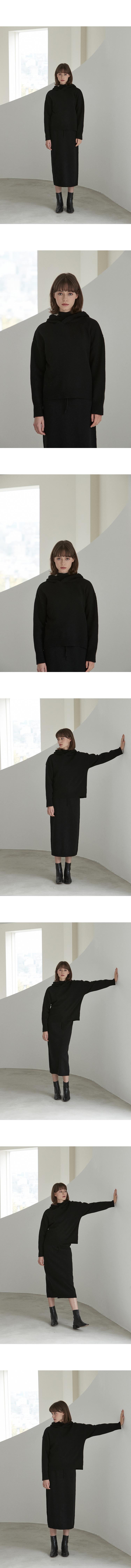 J583 lambswool hoodie knit (black)